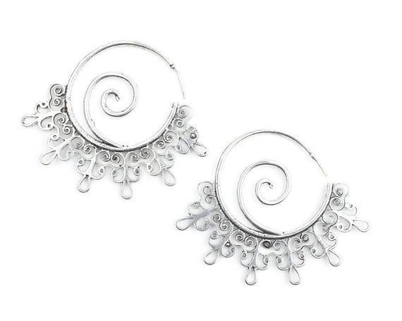 Silver Wave Earrings, Spiral Earrings, Boho, Bohemian, Mandala, Tribal Earrings, Festival Jewelry, Gypsy Earrings, Ethnic, Hippie