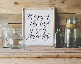 The Joy of The Lord Is Your Strength | Nehemiah 8:10 | Printable | Christian Wall Art | Modern Scripture Print | Bible Verse Art