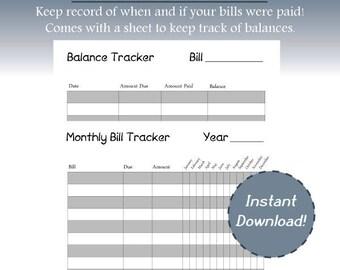 Monthly Bill Tracker, Year Bill Tracker, Bill List, Bill Balance Records, Record keeping for Bills, Simple Bill Tracker, Easy Bill Sheets