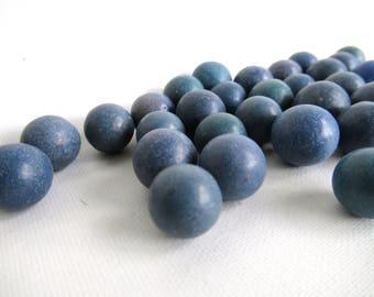 Set of 30 Blue Antique Clay Marbles, Antique marbles. #6A6G15EK11