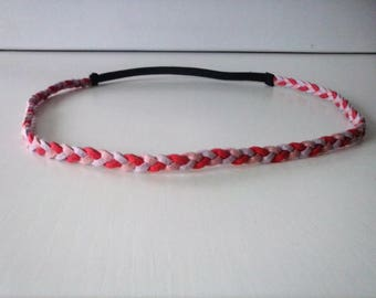 Headband braided suede coral, purple and pink glitter