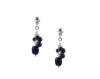 Gemstones Cluster Earrings. Genuine Turquoise, Coral, Agathe or Lapis Lazuli Stones Earrings. Dangle, Sterling Silver Earrings