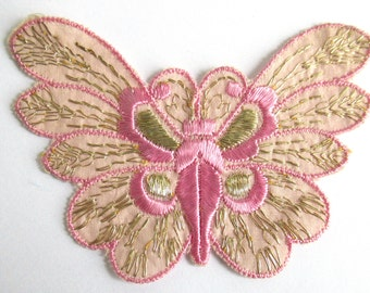 Pink Butterfly applique, 1930s vintage embroidered applique. Sewing supply. Applique, Crazy quilt #64AGC8K2C