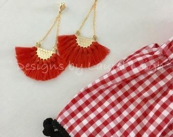 RED and Gold Fringe Post Earrings | fan, lightweight, statement earrings, game day, UGA, Georgia