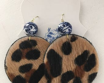 Chinoiserie Leopard Print Earrings |fur, blue and white, gold, statement earrings, black, tan, beige, animal, leather, lightweight