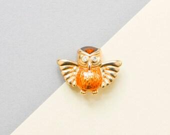 Vintage owl brooch, bird brooch, owl pin, vintage brooch, 90s jewelry, 90s pin