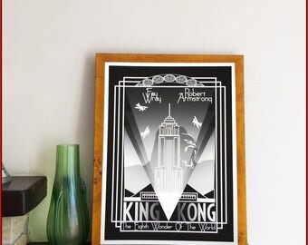 Art Deco style King Kong movie poster by Nameless City Apparel , High quality Giclée print made to be framed and hung with pride