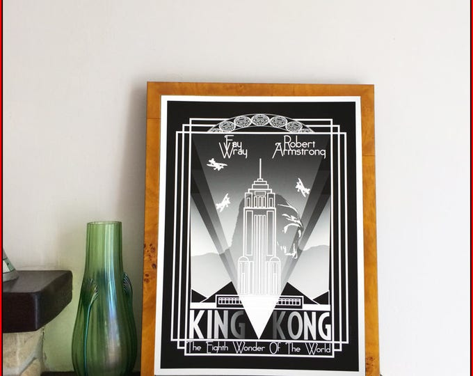 Featured listing image: Art Deco style King Kong movie poster by Nameless City Apparel , High quality Giclée print made to be framed and hung with pride