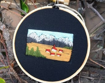 "Little town in the mountains 3"" embroidery hoop art"
