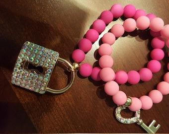 Lock and Key Pink  Fashion Bracelet