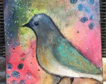little bird mixed media painting on cradled wood