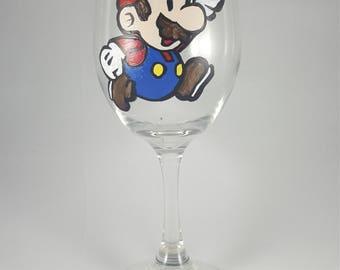 Paper Mario Inspired Hand-painted Wine Glass