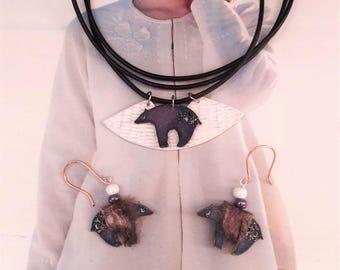 Set necklace earrings bear
