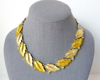 Yellow Rhinestone Necklace | Adjustable Length in Lemon Lucite and Crystal | 1960s Retro Glam Jewelry by Lisner