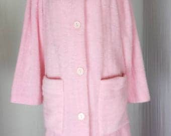 Lara Dee Womens Robe Vtg Long Button Fuzzy Plush Fleece Faux Pink Mink sz L