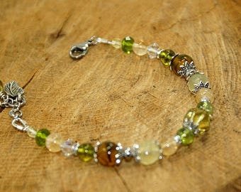 Bracelet stones fine Peridot, citrine, veined agate and Crystal