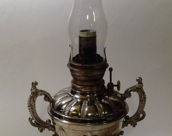 Antique B&H oil lamp converted to electric, working