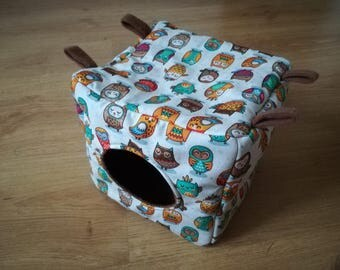 Cube hammock for rats, square, funny owls, sugar glider, small rodents