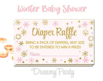 Winter Pink and Gold Diaper Raffle tickets, Winter baby shower decorations, Little Snowflake Baby shower, Digital File.