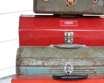 vintage red toolbox man cave decor industrial decor storage box metal tool box