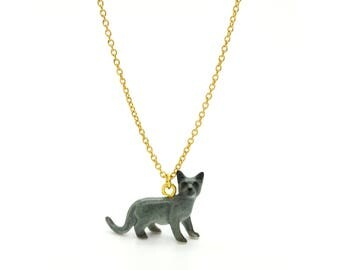 Tiny Russian Blue Cat Charm Necklace, Hand Sculpted/Painted Figurine, Ceramic Animal Pendant & Chain ()
