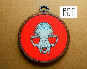 Peony Cat Skull Hand Embroidery Pattern (PDF modern embroidery pattern)