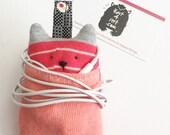Soft Knit Earphone Case, Earphone Holder, Animal Earphone Pouch, Earphone Organizer, Animal face Earphones holder.