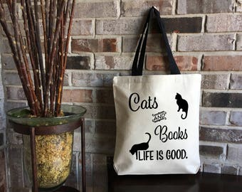 Cat Lover Gift - Book Lover Gift - Cats and Books Large Tote Bag - Animal Lover Gift - Pet Lover Gift - Large Canvas Tote - Librarian Gift