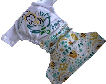Preorder - Cloth diaper Pocket - one size - Bee Happy