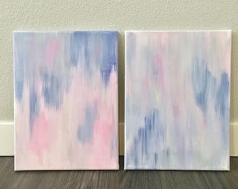 Grey Pink and Navy Abstract Sets of 2 and 3
