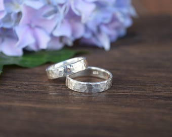 Hammered Rings, Bands, Sterling Silver, Set of Two, Set of 2 Bands, Wedding Ring, Handmade Ring