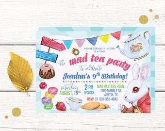 Mad Tea Party Birthday Invitation, Mad Tea party Invitations, Mad Tea Party Birthday Invitations, Mad Tea Party,  Wonderland Tea Party
