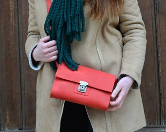 Red Leather bag, Handmade bag red, Leather crossbody purse, Red purse leather, Small crossbody purse, Small shoulder bag, Red shoulder purse