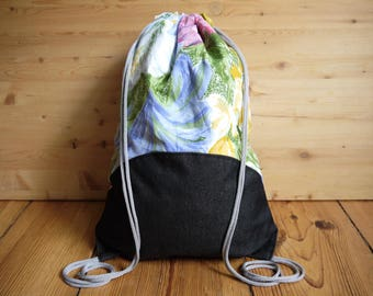 Floral & Denim Drawstring Bag Backpack