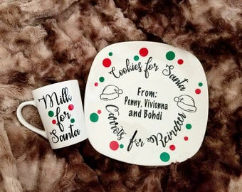 Cookies and milk for Santa set, milk and cookies plate, cookies for Santa plate, Christmas cookies plate, Santa plate, Santa cookies plate
