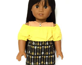 Pencil Skirt, Arrows, Tribal, Black, Gold, Silver, Fits dolls such as American Girl, 18 inch Doll Clothes, Fall