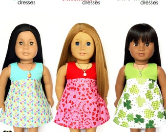 Sleeveless Dress, Easter, High Waist, Eggs, Turquoise Blue, Pink, Yellow, Purple, Fits dolls such as American Girl, 18 inch Doll Clothes