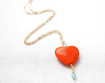 Summer Party Heart Necklace Thin Gold Chain ORANGE Heart Light Turquoise BLUE Crystals Colorful Necklace Bright Heart Charm Bridesmaid Gift