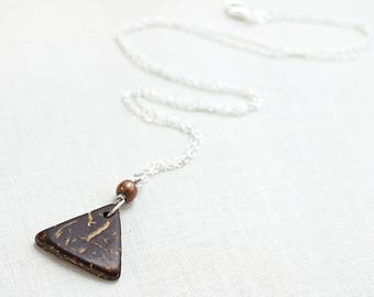 Essential Oil Diffuser Necklace Geometric Triangle Coconut Coffee Gift Charm 925 Sterling Silver Aromatherapy Necklace Aroma Oil Necklace