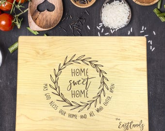 Cutting Board Personalized, Personalized Cutting Board, Home Sweet Home, Christmas Gift, Housewarming Gift, Gift for Women, B-0063