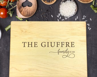 Personalized Cutting Board, Engraved Cutting Board, Custom Cutting Board, Wedding Gift, Housewarming Gift, Christmas Gift, Last Name, B-0093