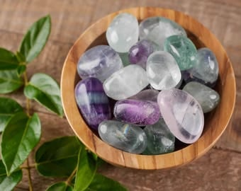 Four Small FLUORITE Tumbled Stones - Fluorite Crystal, Blue Fluorite, Green Fluorite, Purple Fluorite, Healing Stone, Healing Crystal E0473
