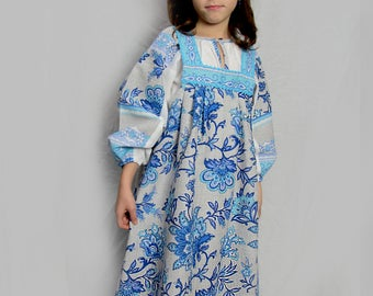 "Russian traditional costume ""Nastenka"", Girl russian dress, Folk dress, Russian souvenir, floral dress, flowered dress, sarafan, blue dress"