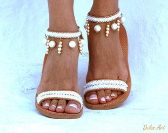 Moonlight Bridal sandals, Leather sandals, White Beach Wedding Sandals, Pearl sandals, Greek Sandal, luxury sandals,  Summer shoes