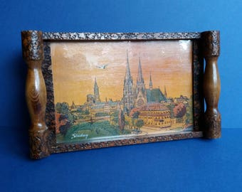 1930s Souvenir Strasbourg Wooden Tray - Made by Wery - Painted and Carved Decoration