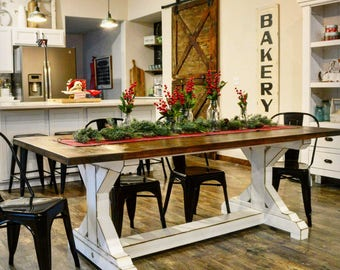 Trestle Base Dining Table / Farmhouse Dining Table / Rustic Dining Table /  Custom Dining Table