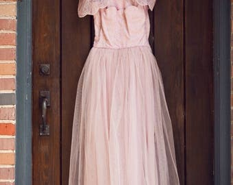 Vintage 1950's Pastel Pink Tulle Prom Dress with Matching Shrug