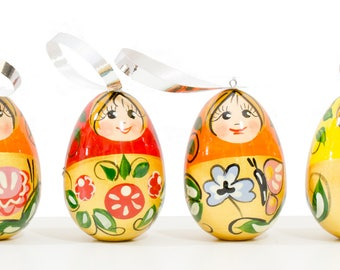 "Christmas Ornaments - Set of 6 - ""Golden Cockerel"" - Wooden Handmade Ornaments from Russia"