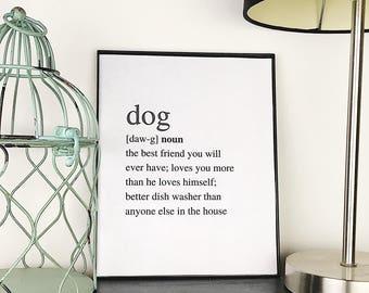 Dog Definition Print | Dog Art Print | Dog Decor | Dog Wall Decor | Dog Lover Gift | Dog Printable | Dog Lover Gift | Dog Humor