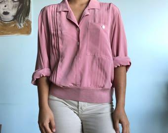 Vintage sz M 8 dusty rose blouse